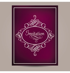 Greeting card with vintage frame on blurred dark vector