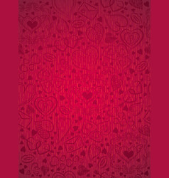 Red patterned background with valentine hearts vector