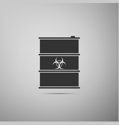 Biological hazard or biohazard barrel flat icon on vector