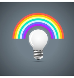 Light bulb with rainbow vector image