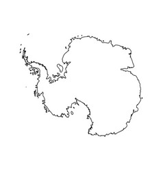 Map of antarctica black outline high detailed vector