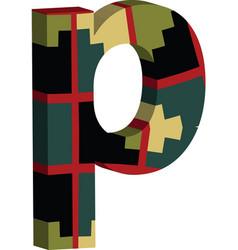 3d font letter p vector