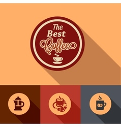 flat coffee design elements vector image