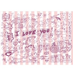 Love doodles set vector