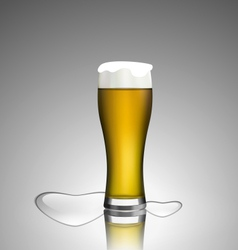 Close up glass of beer with hearts vector