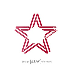 Monocrome red star from ribbon with vintage effect vector