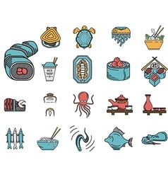 Flat color icons for seafood menu vector
