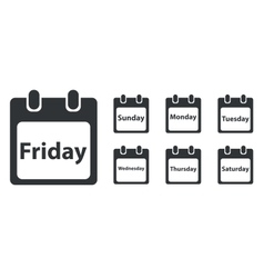 Week day icon set monochrome vector
