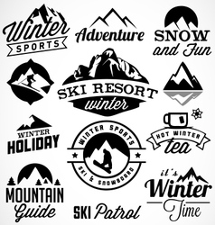 Winter sports badges and labels vector