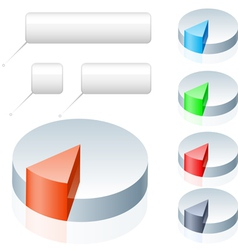 Set of pie chart icons on white background vector