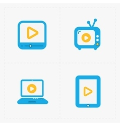 Modern colorfull flat video player icons vector