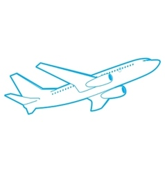 Outline passenger plane bottom view vector