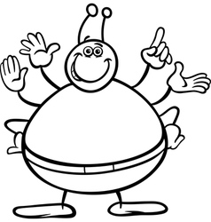 Alien cartoon character coloring page vector