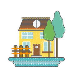Beutiful house with grid wood vector