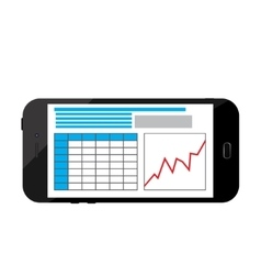 Business infographics image on a black smartphone vector image
