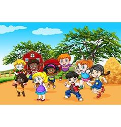 Children dancing in the farm vector