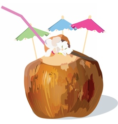 Coconut fresh cocktail vector