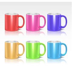 Color realistic ceramic coffee tea mugs vector image vector image