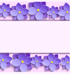 Festive frame with summer 3d flowers violets vector image vector image