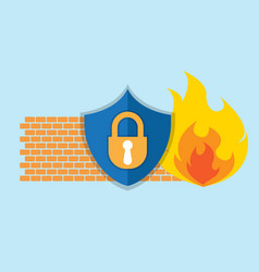 Firewall network security icon vector