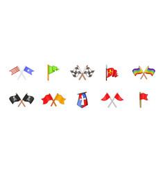 flag icon set cartoon style vector image