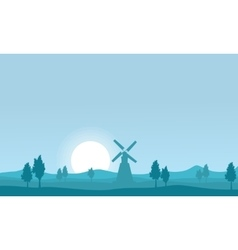 flat of windmill on farm silhouettes vector image