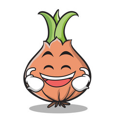 laughing face onion character cartoon vector image