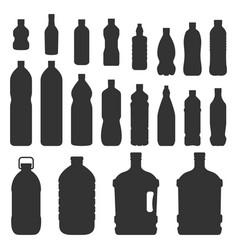 plastic bottles silhouette vector image vector image