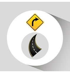 Right turn traffic sign concept graphic vector
