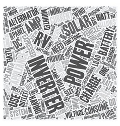 Rv solar inverters text background wordcloud vector