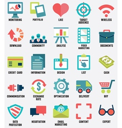 Set of media service flat icons - part 1 - icons vector image vector image