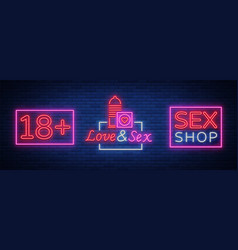 sex shop set of logos in neon style collection of vector image vector image