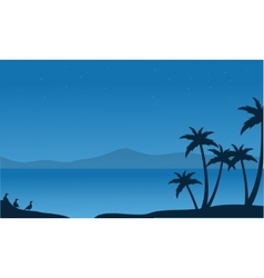 Silhouette of beach with mountain backgrounds vector
