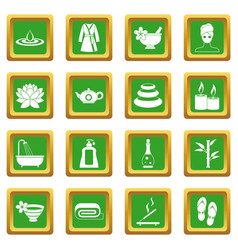 Spa treatments icons set green vector