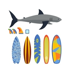 surfing boards and shark vector image
