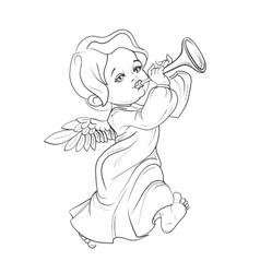 Toddler angel making music playing trumpet vector