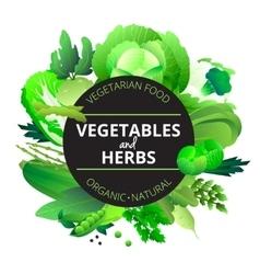 Vegetables herbs round green frame vector
