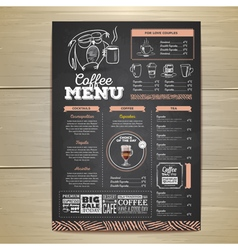 Vintage chalk drawing coffee menu design vector