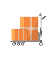 warehouse cart with cardboard boxes icon vector image vector image