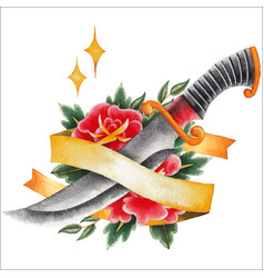 Watercolor floral vignette vector
