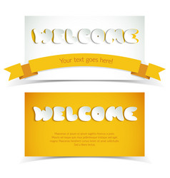 White and yellow welcome paper cards vector