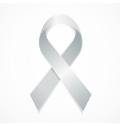 White Awareness Loop Ribbon Satin vector image