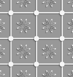 White dots and flowers cut out o paper vector