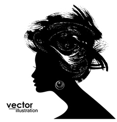 Woman Hair style Silhouette vector image