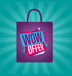 Wow offer sticker on package silhouette vector