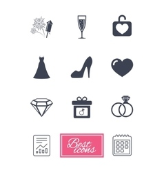 Wedding engagement icons locker with heart vector