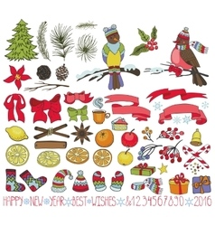 Christmas decoration kitdoodles with birds vector