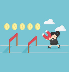 business woman jump over hurdle business vector image