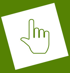 Hand sign   white icon vector