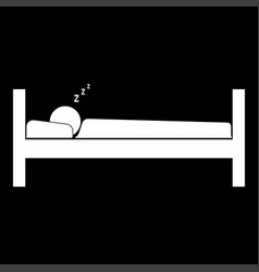 Man sleeping it is the white color icon vector